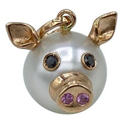 18kt Red Gold Pearl Pendant Necklace Pink Sapphire Black Diamond Pig