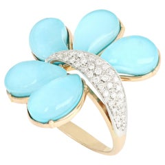 18kt Rose and White Gold Les Papillons Turquoise Drops Ring with Diamonds