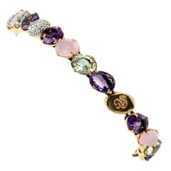 18kt Rose and White Gold with Amethyst Pink Quartz Green Amethyst Bracelet