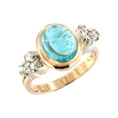 18kt Rose and White Gold with Apatite and White Diamonds Ring