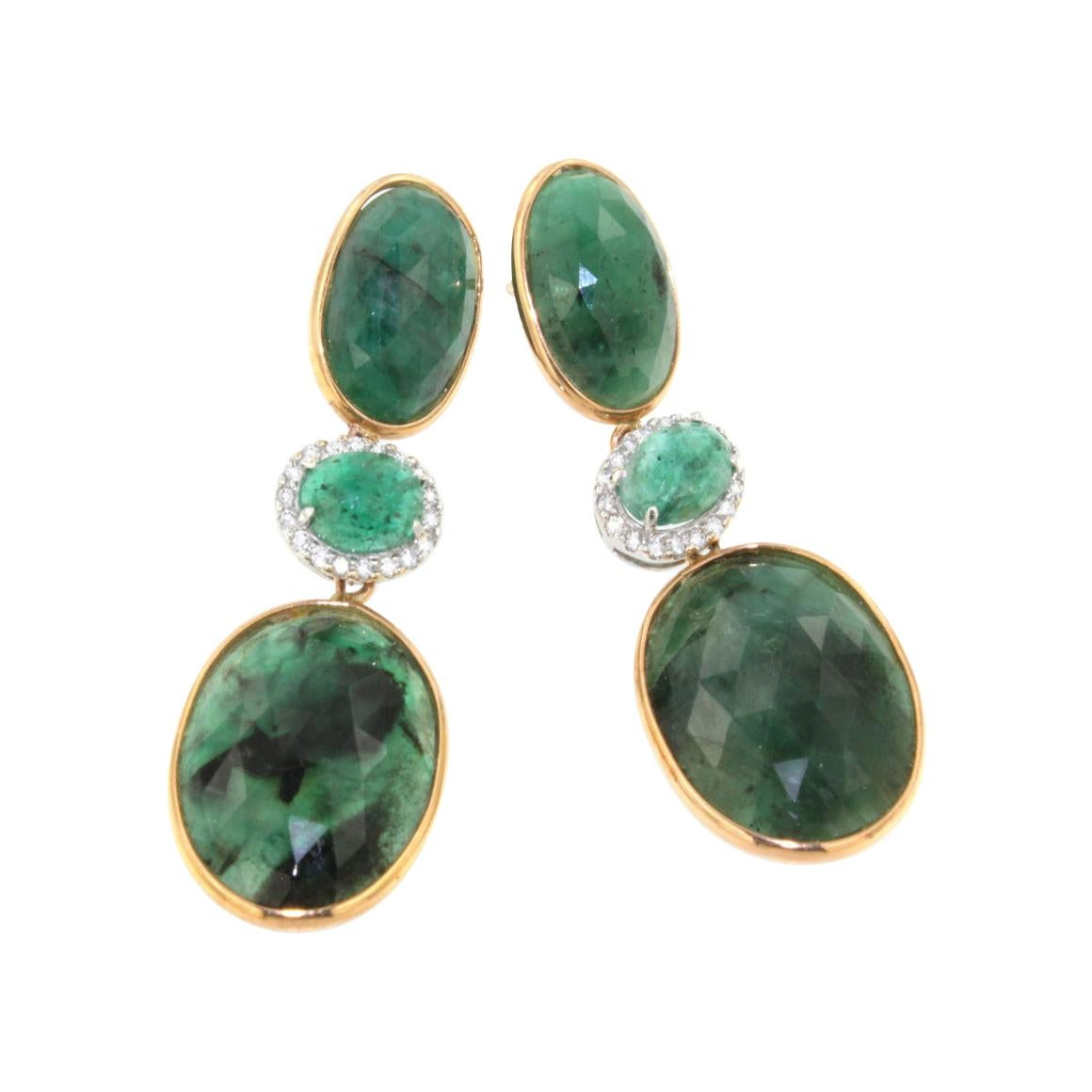 18kt Rose and White Gold with Emerald Earrings