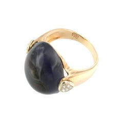 18kt Rose and White Gold with Iolite and White Diamonds Ring