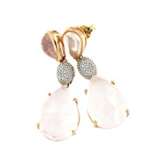 18kt Rose and White Gold with Pink Quartz and White Diamonds Earrings
