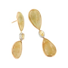 18kt Rose and White Gold with Yellow Sapphires and White Diamonds Earrings