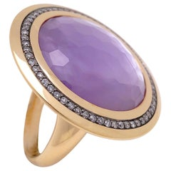 18KT Rose Gold, 14.35Ct. Amethyst & 8.07Ct Mother of Pearl Ring with Diamonds