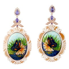 18kt Rose Gold 35.3ct Shell Cameo 2.2ct Tanzanite Enamel Diamond Dangle Earrings