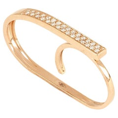 18kt Rose Gold 3Chic Double Finger Big Ring with Diamonds and Topaze