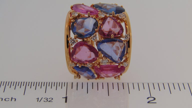 Women's 18 Karat Rose Gold Blue and Pink Sapphire Ring with Diamonds For Sale