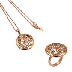 18 Karat Gold Brown Diamonds Garavelli Heart Motif Round Ring and Pendant Set
