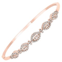 18 Karat Rose Gold Diamond Bangle with .72 Carat of Round Brilliant Cut Diamonds