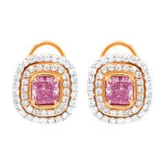 18kt Rose Gold Earrings with Fancy Light Pink Diamond