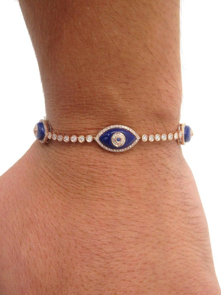 Women's or Men's 18 Karat Rose Gold Evil Eye Diamond Bracelet