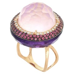 18kt Rose Gold Les Bonbons Big Pink Rounded Cocktail Ring with Diamonds