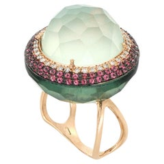 18kt Rose Gold Les Bonbons Green Big Rounded Cocktail Ring with Diamonds