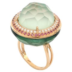18kt Rose Gold Les Bonbons Green Rounded Cocktail Ring with Diamonds