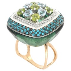 18kt Rose Gold Les Bonbons Green Squared Cocktail Ring with Diamonds