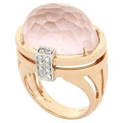 18kt Rose Gold Les Bonbons Paris Pink Quartz Cocktail Ring with Diamonds
