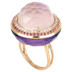 18kt Rose Gold Les Bonbons Pink Rounded Cocktail Ring with Diamonds