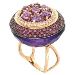 18kt Rose Gold Les Bonbons Rounded Purple Cocktail Ring with Diamonds