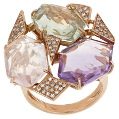 18kt Rose Gold Les Gemmes Big Multicolor Ring with Amethyst and Diamonds