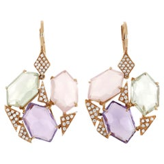 18kt Rose Gold Les Gemmes Multicolor Big Earrings with Amethyst and Diamonds