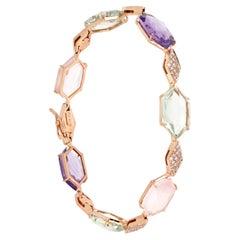 18kt Rose Gold Les Gemmes Multicolor Bracelet with Amethyst and Diamonds