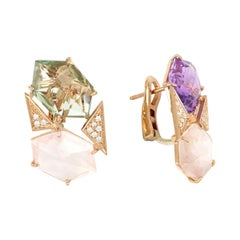 18kt Rose Gold Les Gemmes Multicolor Earrings with Amethyst and Diamonds
