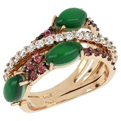 18kt Rose Gold Les Papillon Ring Green Aventurine, Pink Topazes and Diamonds