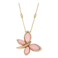 18kt Rose Gold Les Papillons Necklace with Pink Opal and Diamonds
