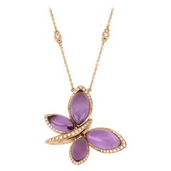 18kt Rose Gold Les Papillons Necklace with Purple Amethyst and Diamonds
