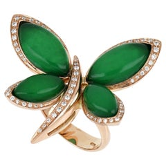 18kt Rose Gold Les Papillons Ring with Green Aventurine and Diamonds