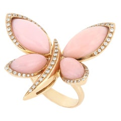 18kt Rose Gold Les Papillons Ring with Pink Opal and Diamonds