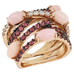 18kt Rose Gold Les Papillons Ring with Pink Opal, Pink Topazes and Diamonds