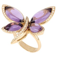 18kt Rose Gold Les Papillons Ring with Purple Amathyst and Diamonds