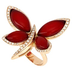 18kt Rose Gold Les Papillons Ring with Red Aventurine and Diamonds