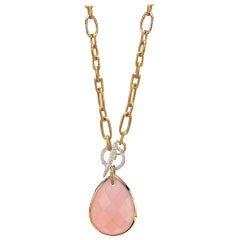 18 Karat Rose Gold Pendant with Pear Shape Rose Quartz and Diamond Toggle