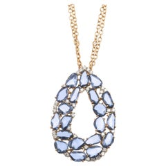 18kt Rose Gold Pendant with Scattered Light blue Sapphires and Diamonds