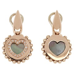 """18kt Rose Gold Reverse Earrings """"Heart"""" with Diamonds and Mother-of-pearl Insert"""