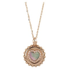 """18kt Rose Gold Reverse Necklace """"Heart"""" with Diamonds and Mother of Pearl Insert"""