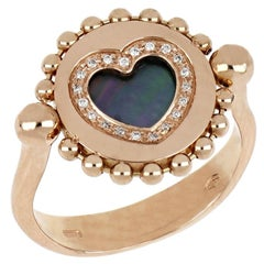 """18kt Rose Gold Reverse Ring """"Heart"""" with Diamonds and Mother-of-pearl"""
