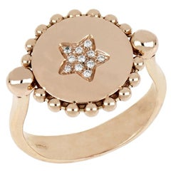 """18kt Rose Gold Reverse Ring """"Star"""" with Diamonds and Mother-of-Pearl Insert"""