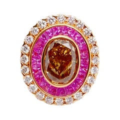 18kt Rose Gold Ring with a Center IGI Certified Fancy Brown Diamond