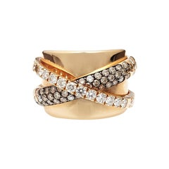 18kt Rose Gold Ring with Double Band Crossover