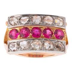 18 Karat Rose Gold Ruby and Diamond Band Ring, 1940s