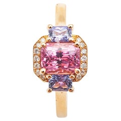 18kt Rose Gold Spinel Pink Sapphire and Diamond Cocktail Ring
