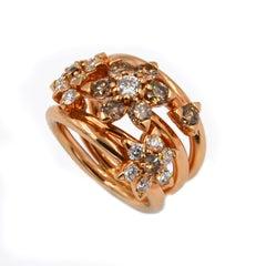 18 Karat Rose Gold White and Brown Diamonds Garavelli Flower Cocktail Ring