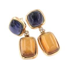 18Kt Rose Gold wiht Essonite Iolite White Diamonds Earrings