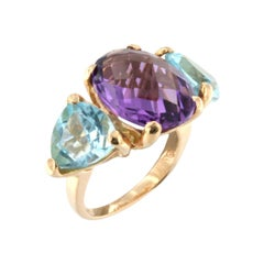 18kt Rose Gold with Amethyst and Blue Topaz Ring