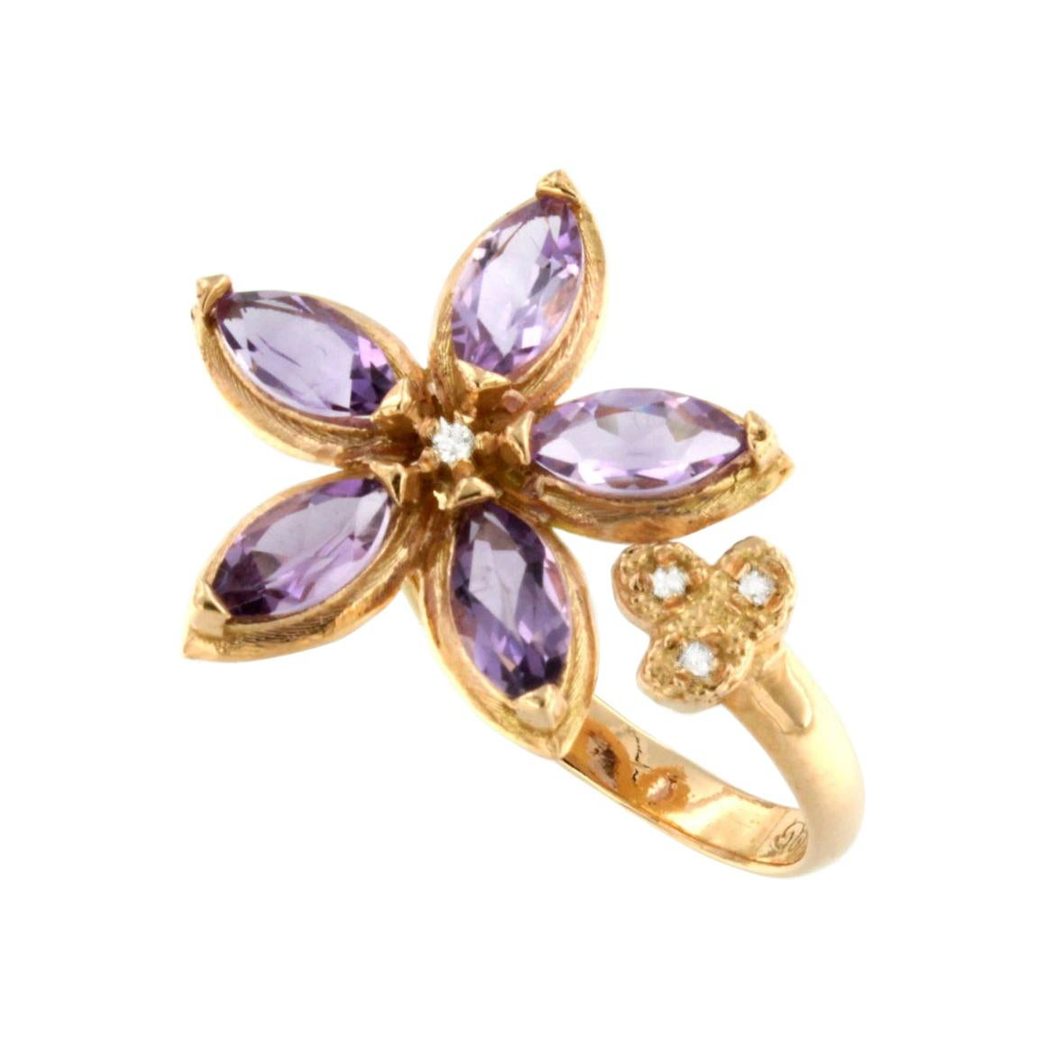 18Kt Rose Gold with Amethyst and White Diamonds Ring