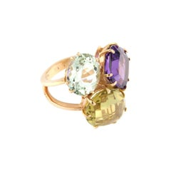 18kt Rose Gold with Amethyst Green Amethyst and Lemon Quartz Ring